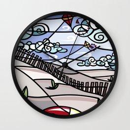 Flying Kites on the Beach Wall Clock