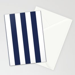 Space cadet blue - solid color - white vertical lines pattern Stationery Cards