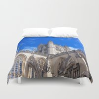 downton abbey Duvet Covers featuring Bath Abbey by Casey J. Newman