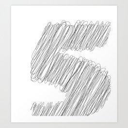 """ Cloud Collection "" - Minimal Number Five Print Art Print"