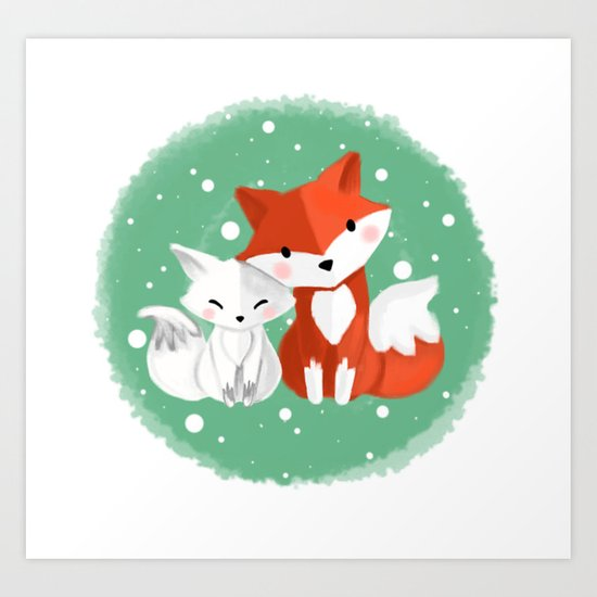Foxy friends Art Print