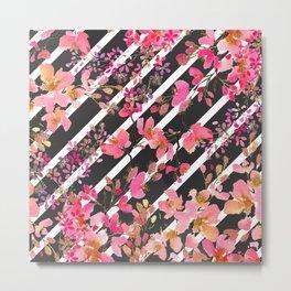 Elegant watercolor floral and stripes pattern. Metal Print
