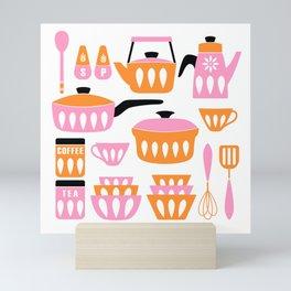 My Midcentury Modern Kitchen In Pink And Tangerine Mini Art Print