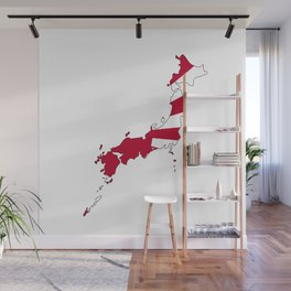 Japanese Map and Flag Wall Mural