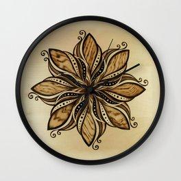 Happiness and peacefull mandala of wood Wall Clock
