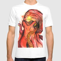 Octopus White Mens Fitted Tee MEDIUM