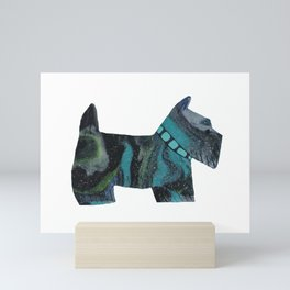 TURQUOISE MARBLED SCOTTISH TERRIER Mini Art Print