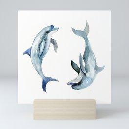 Dolphin, Two Dolphins, chidlren room decor illustration dolphin art Mini Art Print