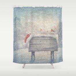 Winter wonderland birds  Shower Curtain