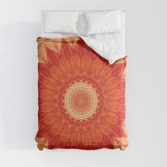 Mandala orange red Comforters