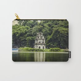 Turtle Tower in the Middle of Hoan Kiem Lake with Trees and the Park behind It in Hanoi, Vietnam Carry-All Pouch