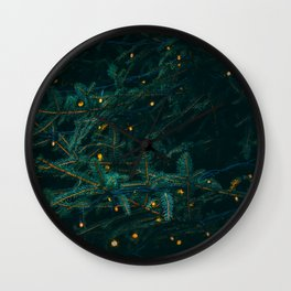 Evergreen and Golden Lights (Color) Wall Clock