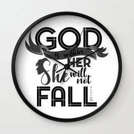 God Is Within Her She Did Not Fall Religion Christianity Gift Wall Clock