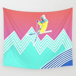 Dude skis like it's 1989 Wall Tapestry