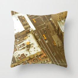 Vintage New York Cabs Throw Pillow