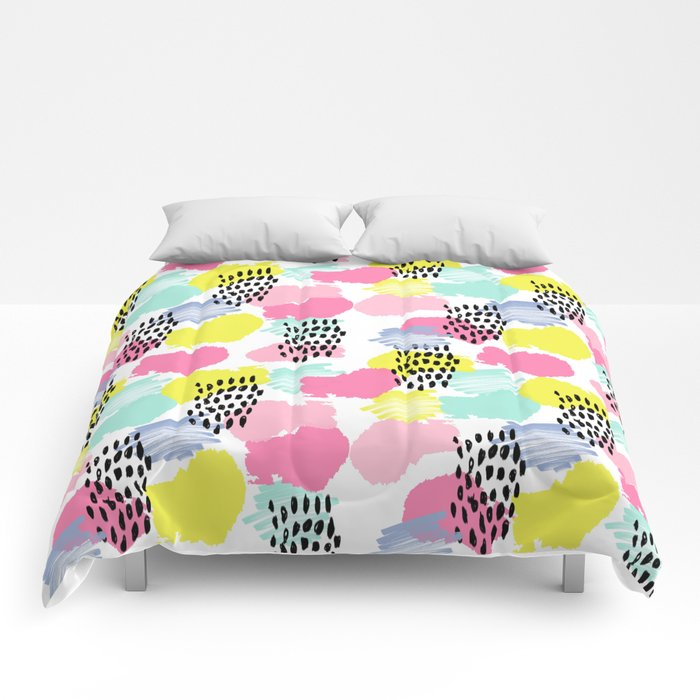 Bright happy painted pattern nursery baby gifts black and white spring summer home decor Comforters