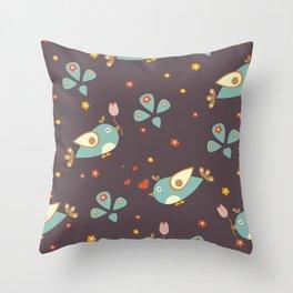 Bird Seamless Pattern. Bullfinch birds on a dark Throw Pillow