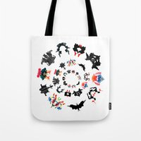 psychology Tote Bags featuring Rorschach test subjects' perceptions of inkblots psychology   thinking Exner score  by Luxorama