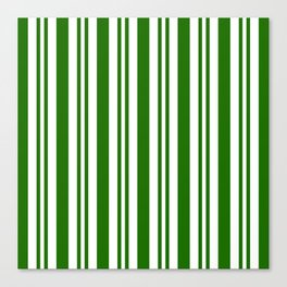 Green and white vertical stripes Canvas Print