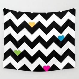 Heart & Chevron - Black/Multi Wall Tapestry