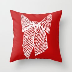 White bow Throw Pillow
