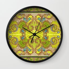 Green & yellow pattern Wall Clock