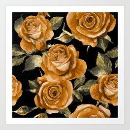 Retro Orange Roses On Black Art Print