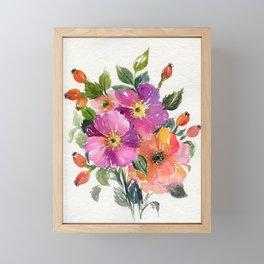 wild roses - watercolor floral composition Framed Mini Art Print