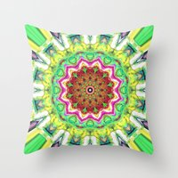 lime green Throw Pillows featuring Lime Green Citrus Abstract by Phil Perkins