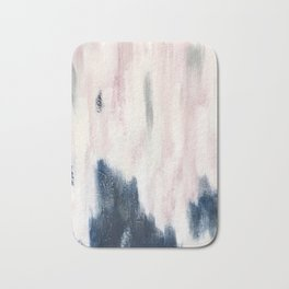 Blush Pink and Blue Pretty Abstract Bath Mat
