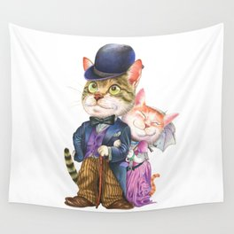 A couple of cats in retro fashion Wall Tapestry