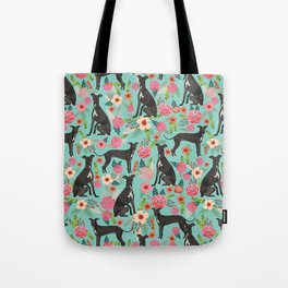 Italian Greyhound pet friendly pet portraits dog art custom dog breeds floral dog pattern Tote Bag