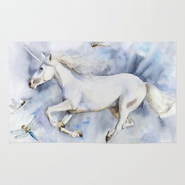 Unicorn in the Clouds, Dragonflies Rug