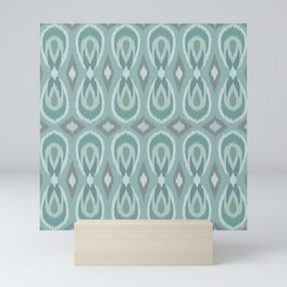 Ikat Teardrops in Sea Foam, Teal, Gray Mini Art Print
