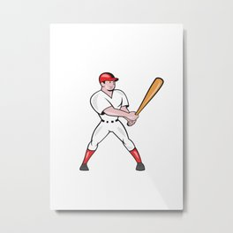 Baseball Hitter Batting Isolated Cartoon Metal Print