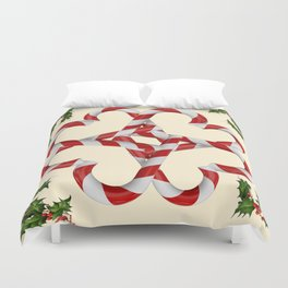 CREAMY YELLOW  RED-WHITE PINK  CHRISTMAS CANDY CANES Duvet Cover