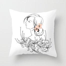 Girly Cherry Blossom Throw Pillow