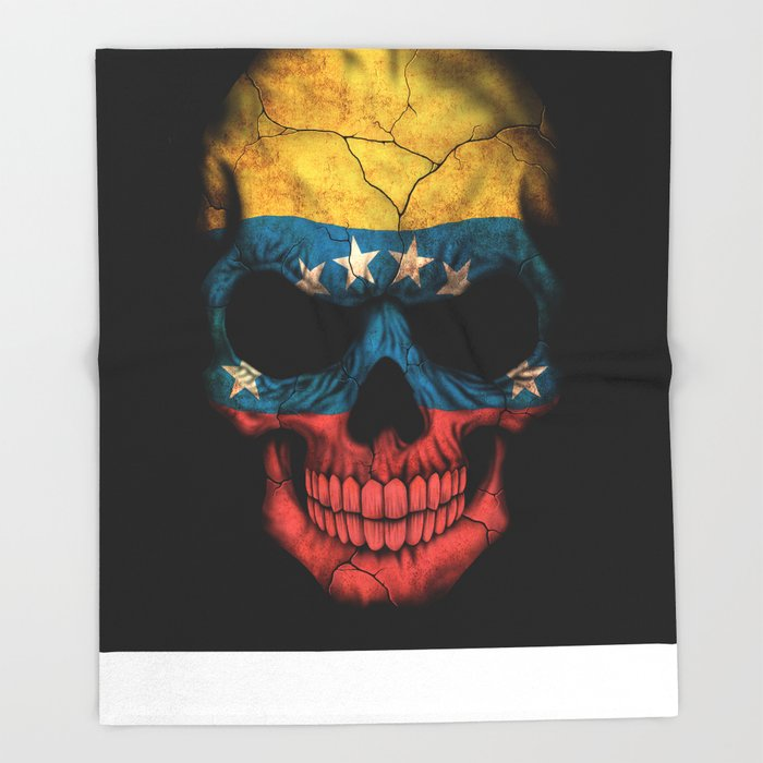 Dark Skull with Flag of Venezuela Throw Blanket