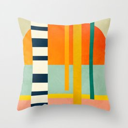 trees with tropical sun Throw Pillow