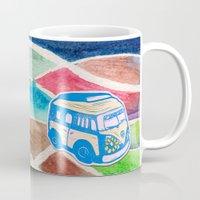 vw bus Mugs featuring VW Bus Campervan by Carrie at Dendryad Art