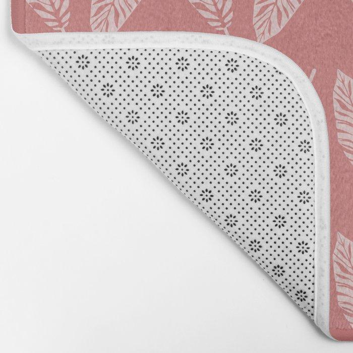 Tropical foliage Flamingo Pink #tropical #leaves #homedecor Bath Mat