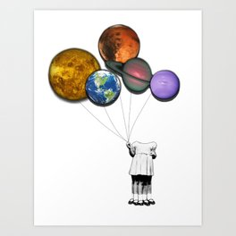 Planet balloon girl Art Print