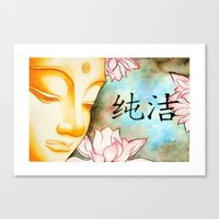 buddah Canvas Prints featuring Buddah (Purity) by JackiesGamingArt