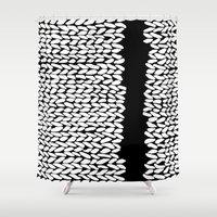 knit Shower Curtains featuring Missing Knit On Side by Project M