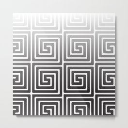 Black and White Square Spiral Metal Print