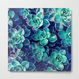 Plants of Blue And Green Metal Print