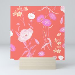 Living Coral Floral Pattern Mini Art Print