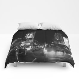 Hollywood at  night Comforters