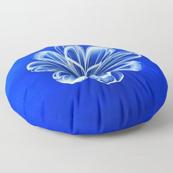 White Bloom on Blue Floor Pillow
