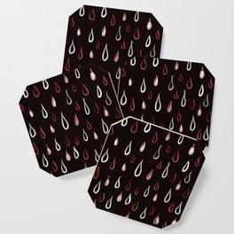 Dark White And Red Raindrops Pattern Coaster